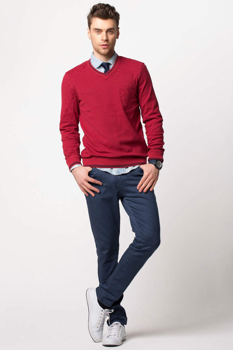 DeFacto Bordo V Yaka Basic Sweatshirt 2