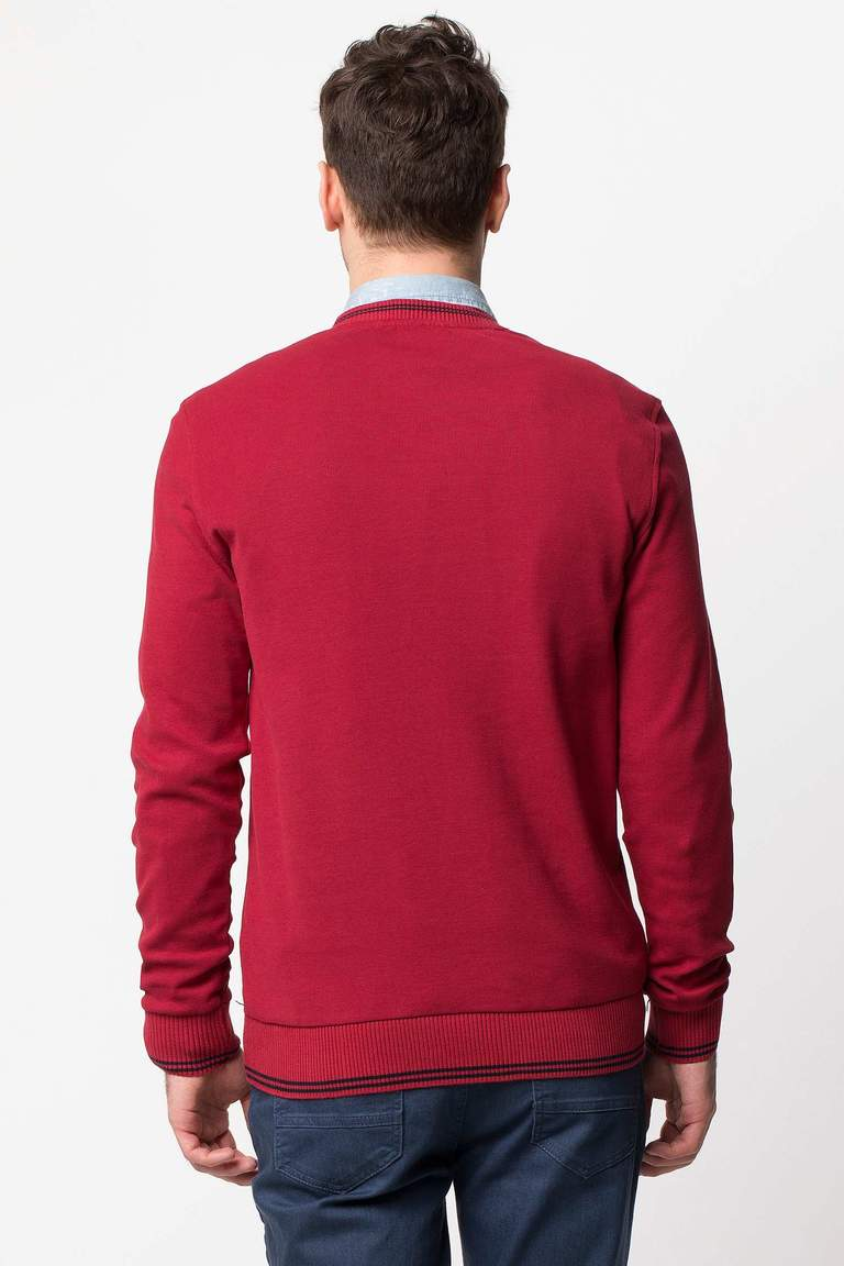 DeFacto Bordo V Yaka Basic Sweatshirt 3