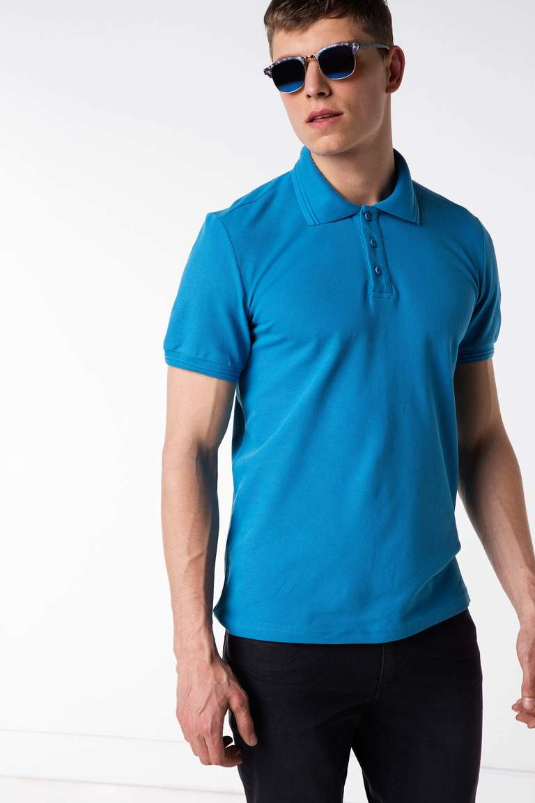 DeFacto Mavi Basic Polo T-shirt 1