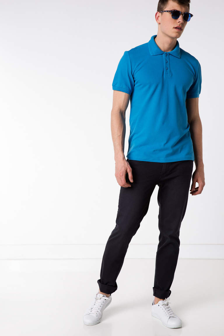 DeFacto Mavi Basic Polo T-shirt 2
