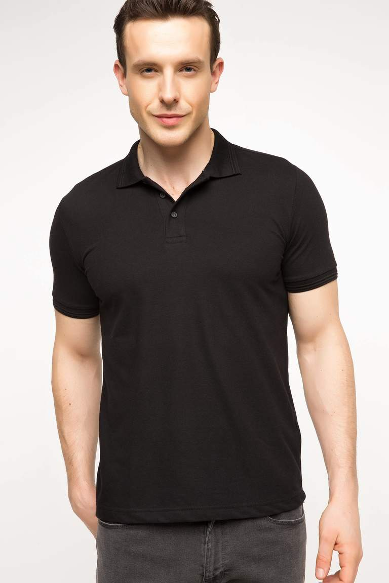 DeFacto Siyah Basic Polo T-shirt 1