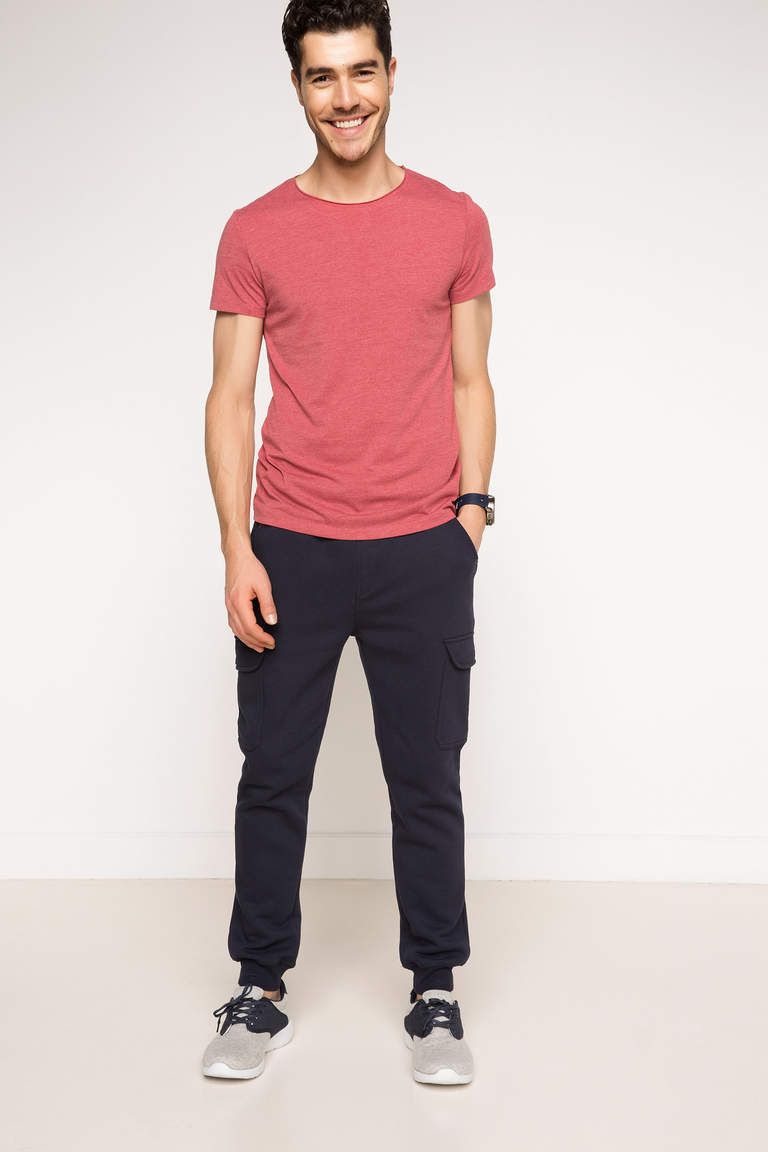 DeFacto Bordo Erkek Ekstra Slim Fit Basic T-shirt 2