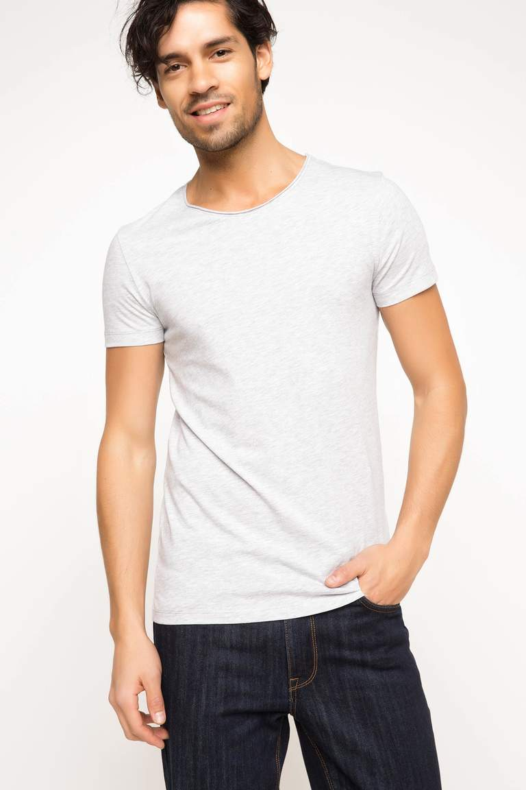 DeFacto Gri Erkek Ekstra Slim Fit Basic T-shirt 1