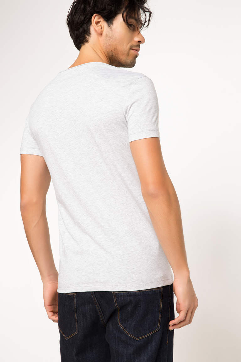 DeFacto Gri Erkek Ekstra Slim Fit Basic T-shirt 3