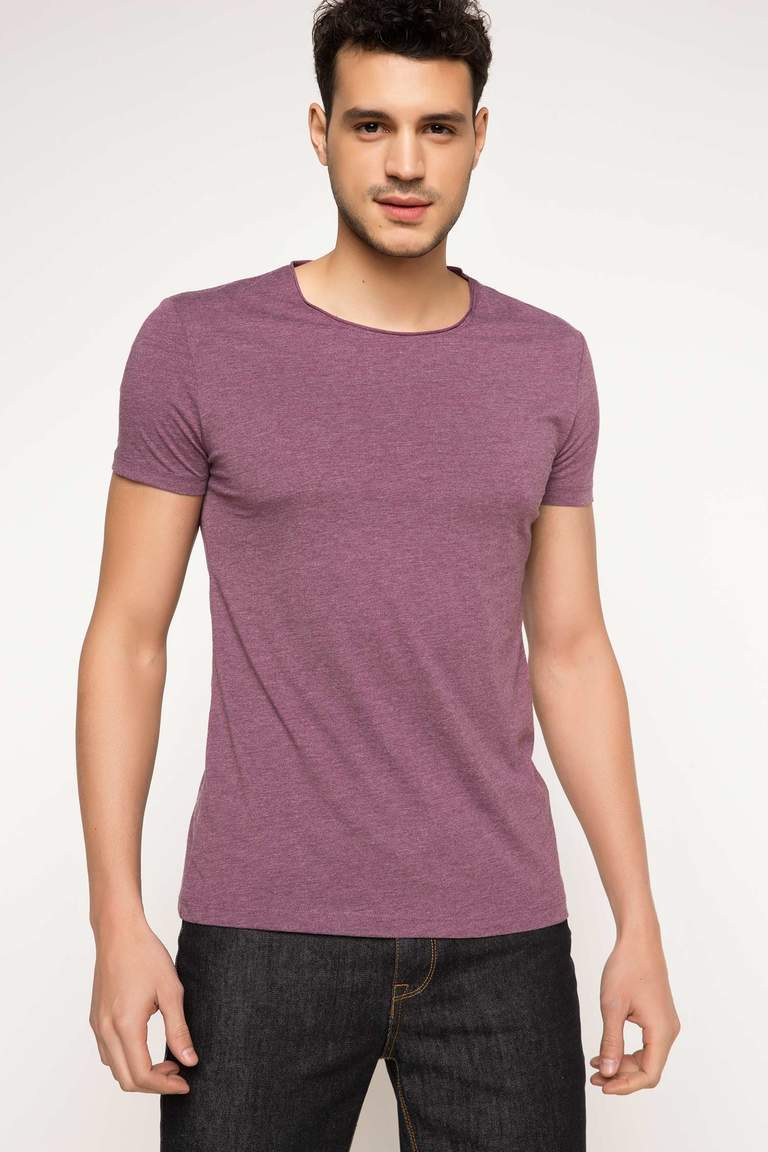 DeFacto Mor Erkek Ekstra Slim Fit Basic T-shirt 1