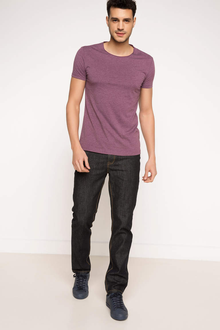 DeFacto Mor Erkek Ekstra Slim Fit Basic T-shirt 2