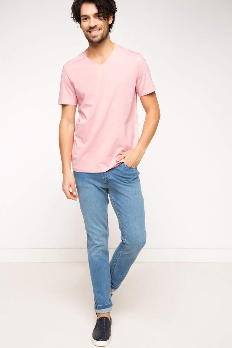 DeFacto Bordo Erkek Basic V Yaka T-shirt 2