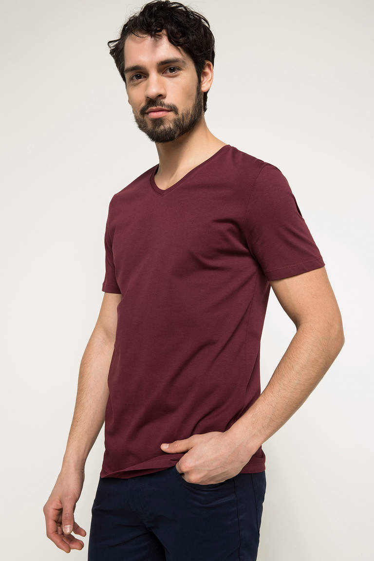 DeFacto Bordo Erkek Basic V Yaka T-shirt 1