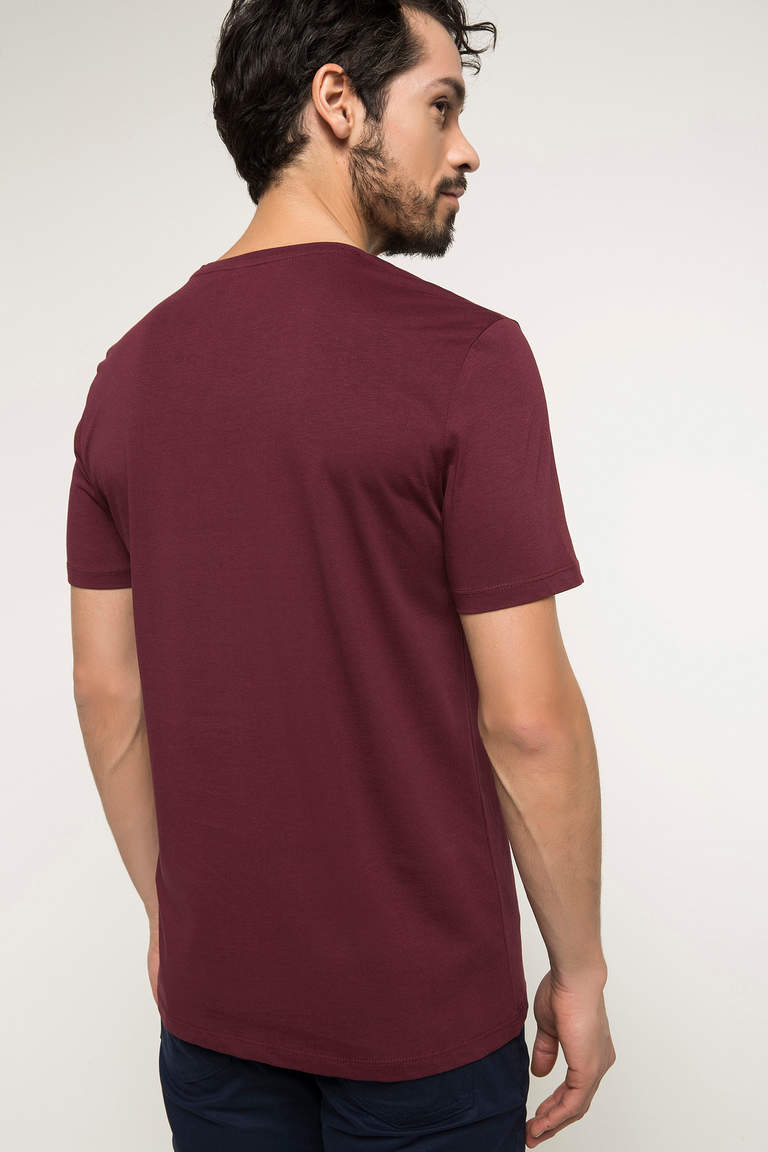 DeFacto Bordo Erkek Basic V Yaka T-shirt 3