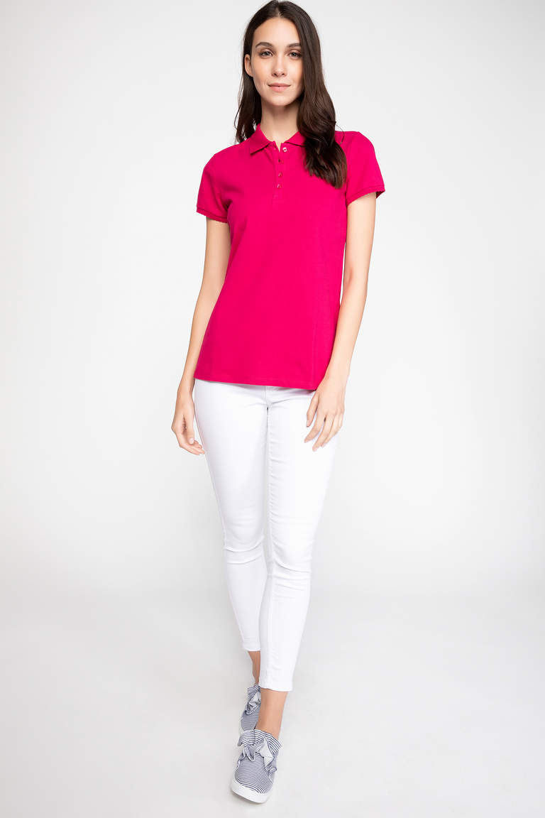 DeFacto Pembe Basic Polo T-Shirt 2
