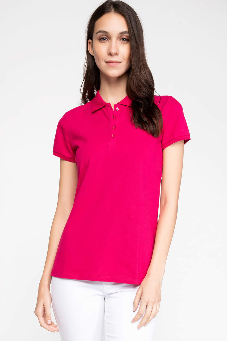 DeFacto Pembe Basic Polo T-Shirt 5