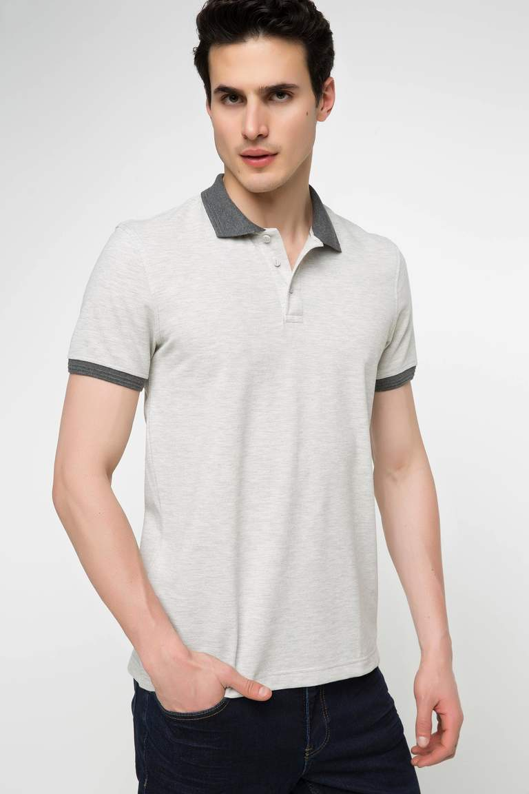 DeFacto Bej Erkek Basic Slim Fit Polo T-shirt 1