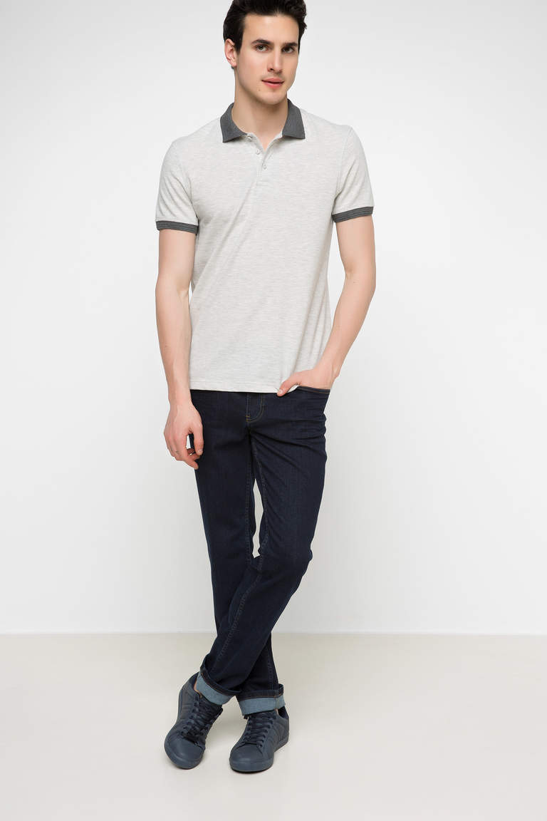 DeFacto Bej Erkek Basic Slim Fit Polo T-shirt 2