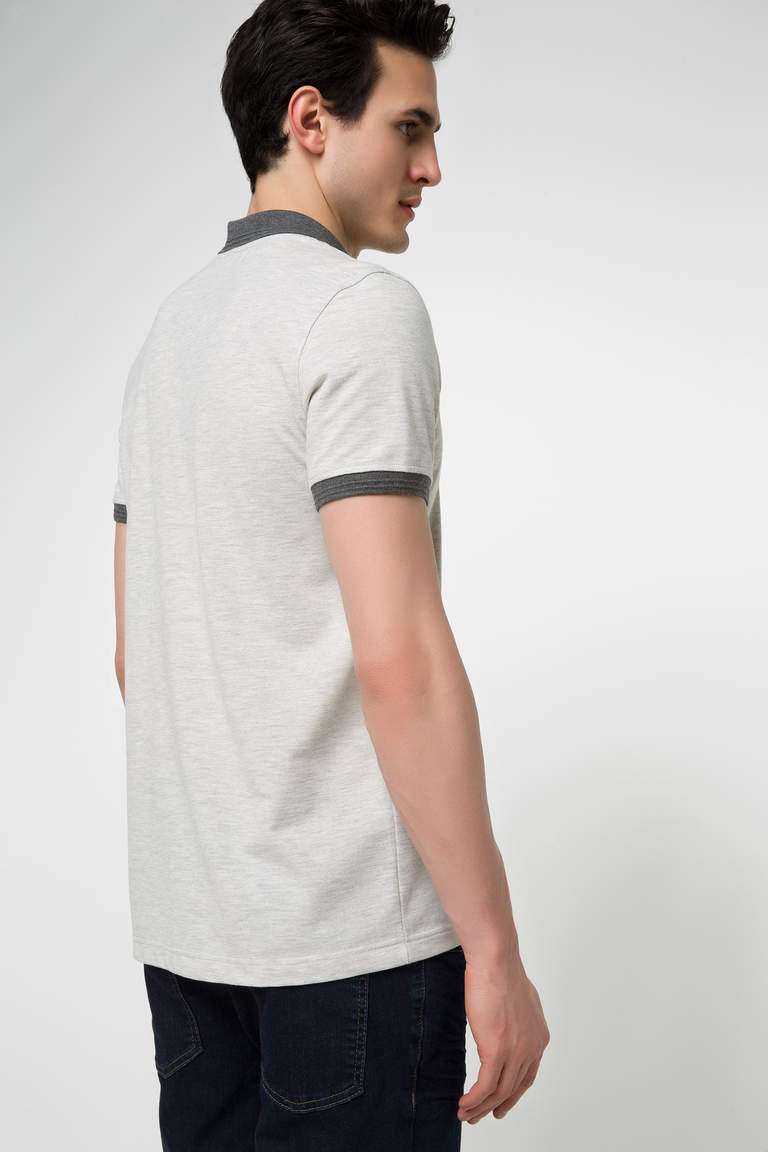 DeFacto Bej Erkek Basic Slim Fit Polo T-shirt 3