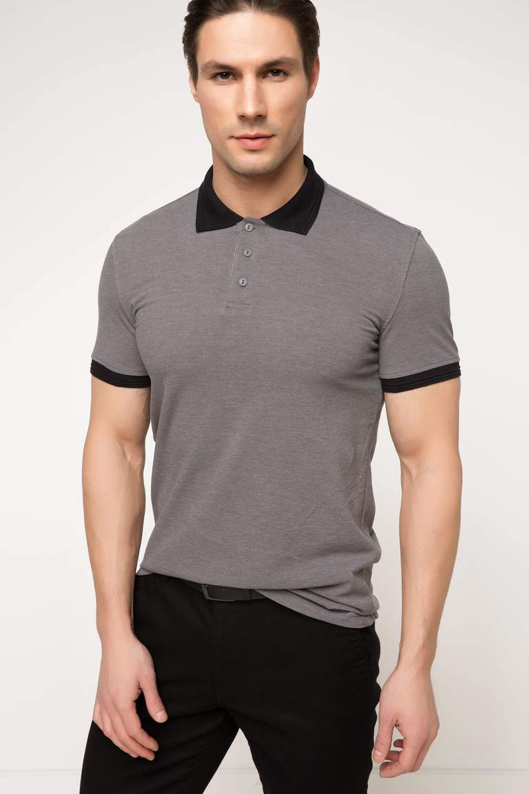 DeFacto Gri Erkek Basic Slim Fit Polo T-shirt 1