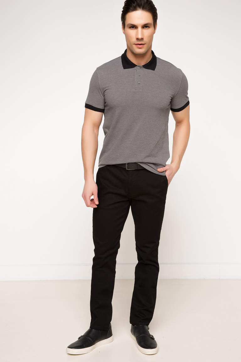 DeFacto Gri Erkek Basic Slim Fit Polo T-shirt 2