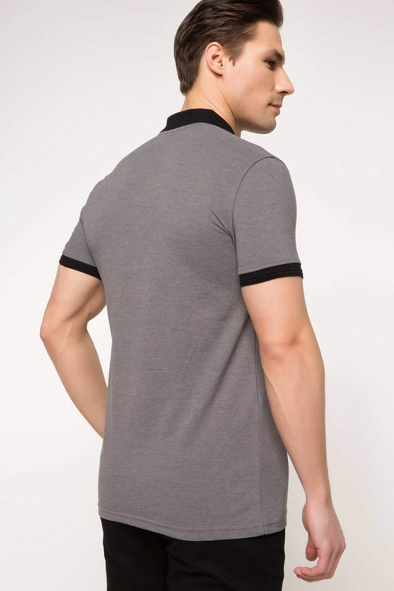 DeFacto Gri Erkek Basic Slim Fit Polo T-shirt 3