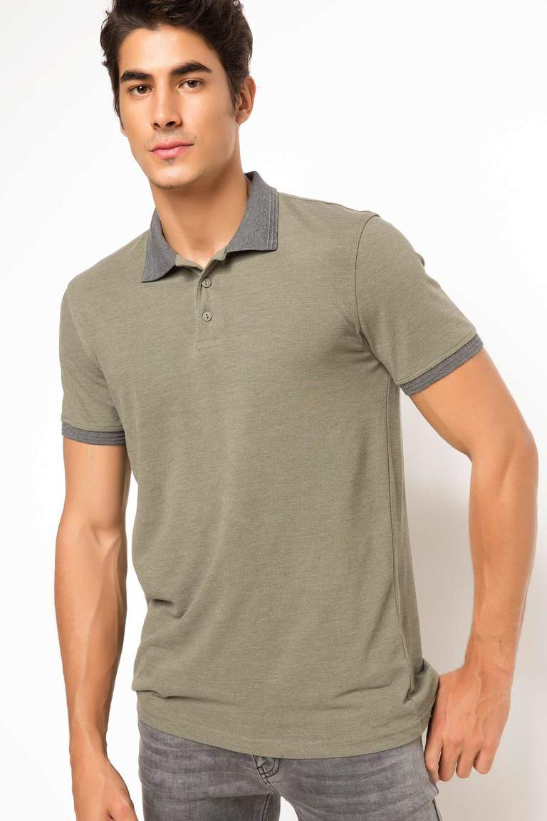 DeFacto Haki Erkek Basic Slim Fit Polo T-shirt 1