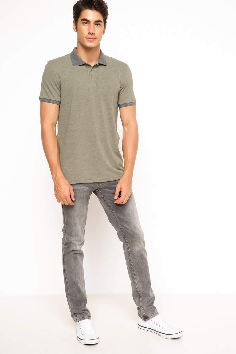 DeFacto Haki Erkek Basic Slim Fit Polo T-shirt 2