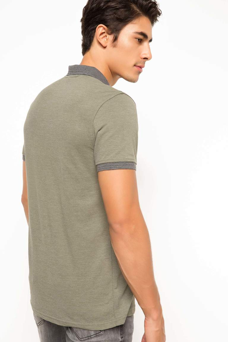 DeFacto Haki Erkek Basic Slim Fit Polo T-shirt 3