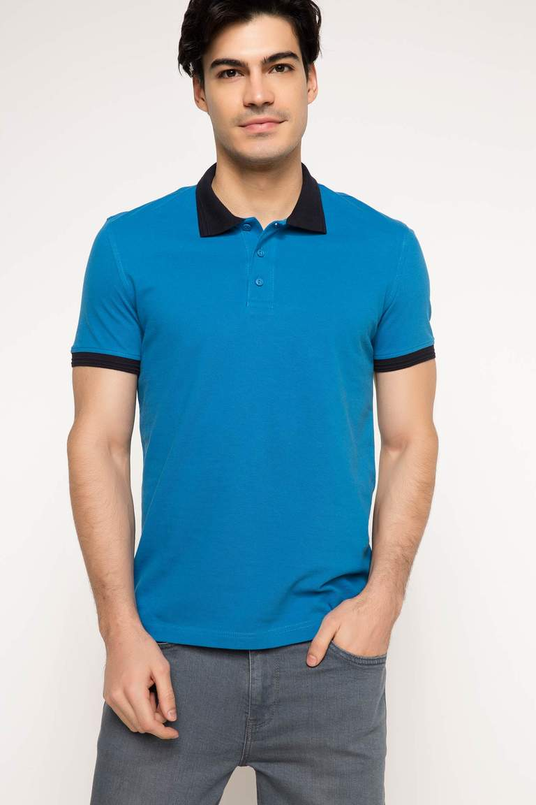 DeFacto Mavi Erkek Basic Slim Fit Polo T-shirt 1