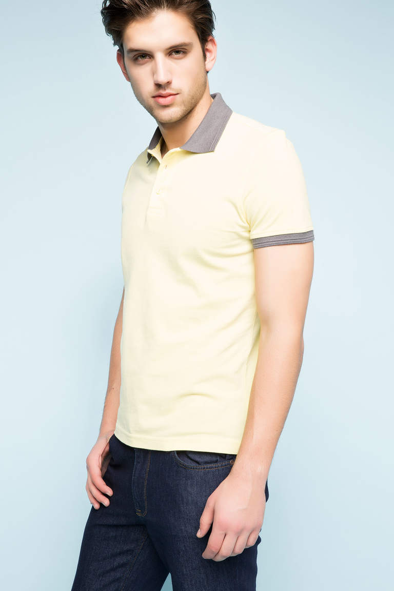 DeFacto Sarı Erkek Basic Slim Fit Polo T-shirt 1