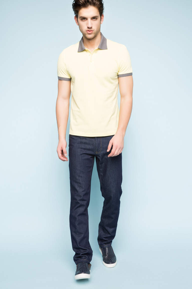 DeFacto Sarı Erkek Basic Slim Fit Polo T-shirt 2