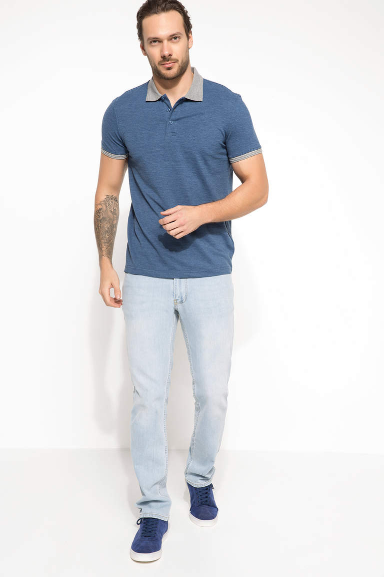 DeFacto Mavi Erkek Basic Slim Fit Polo T-shirt 2