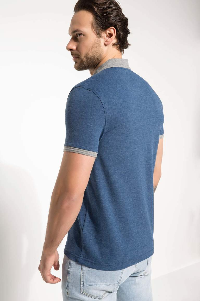 DeFacto Mavi Erkek Basic Slim Fit Polo T-shirt 3