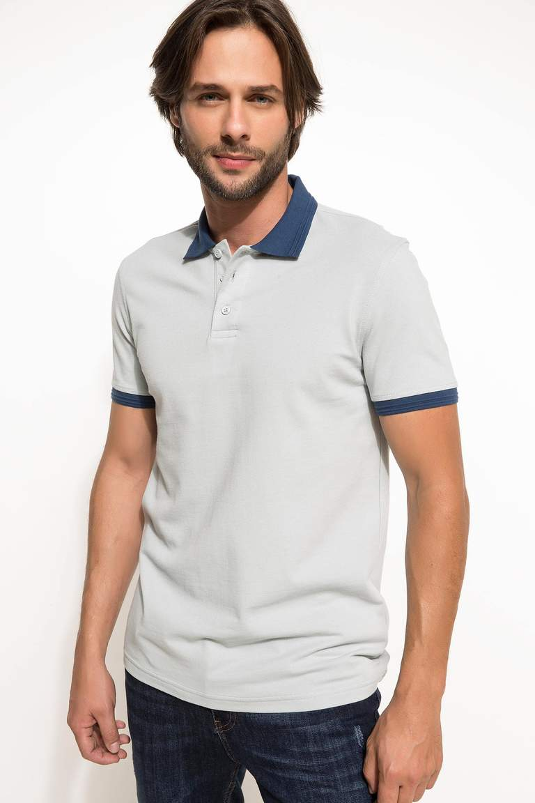 DeFacto Turkuaz Basic Slim Fit Polo T-shirt 1
