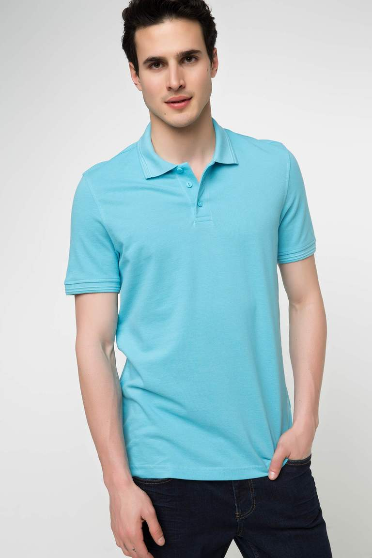 DeFacto Turkuaz Erkek Basic Polo T-shirt 1