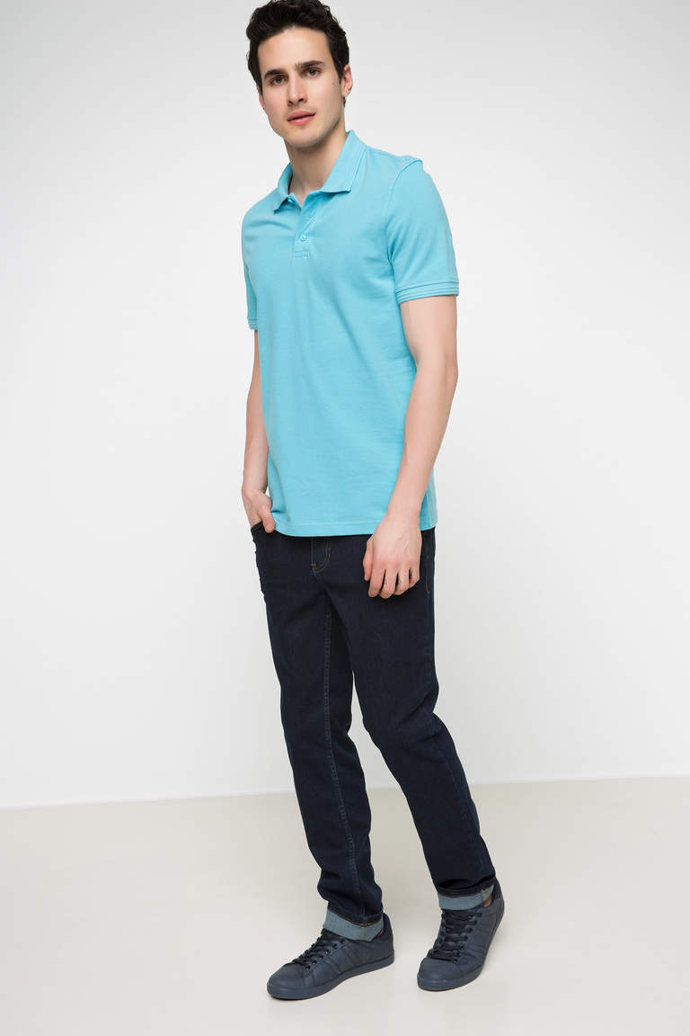 DeFacto Turkuaz Erkek Basic Polo T-shirt 2