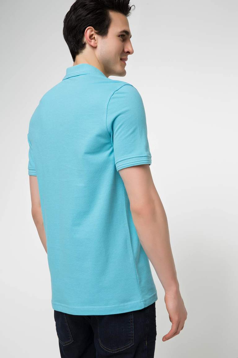DeFacto Turkuaz Erkek Basic Polo T-shirt 3
