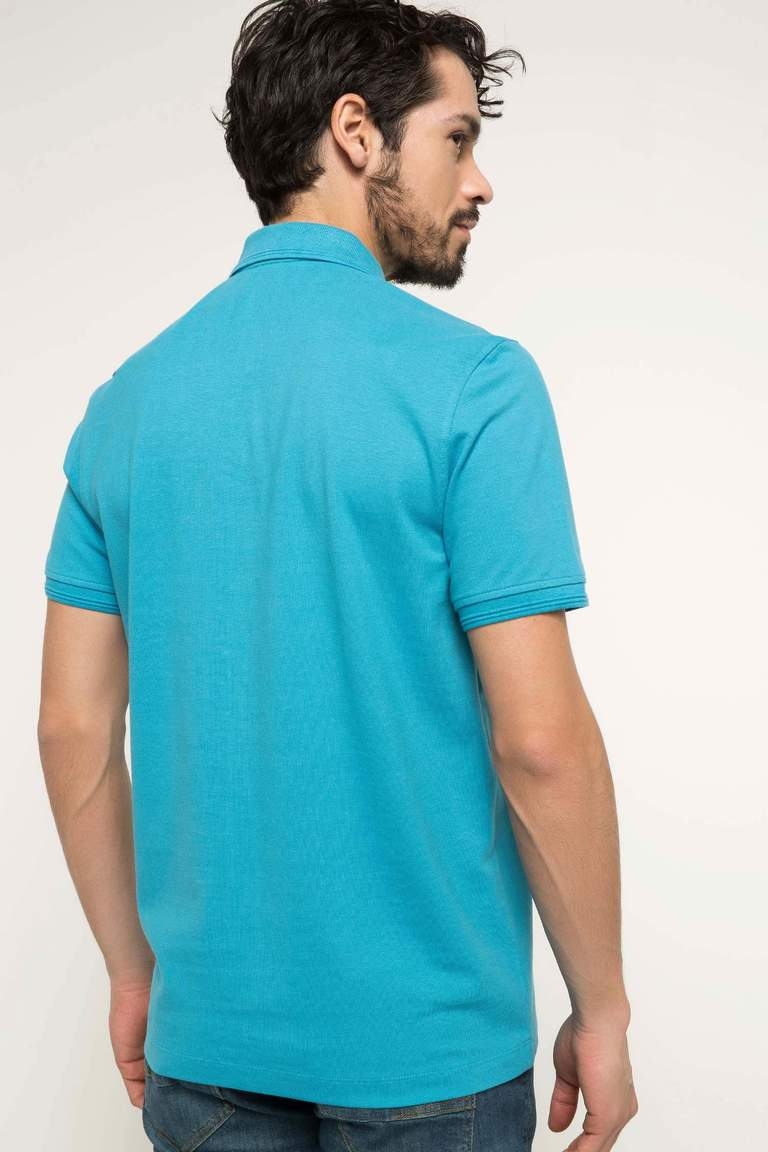 DeFacto Turkuaz Erkek Basic Polo T-shirt 4