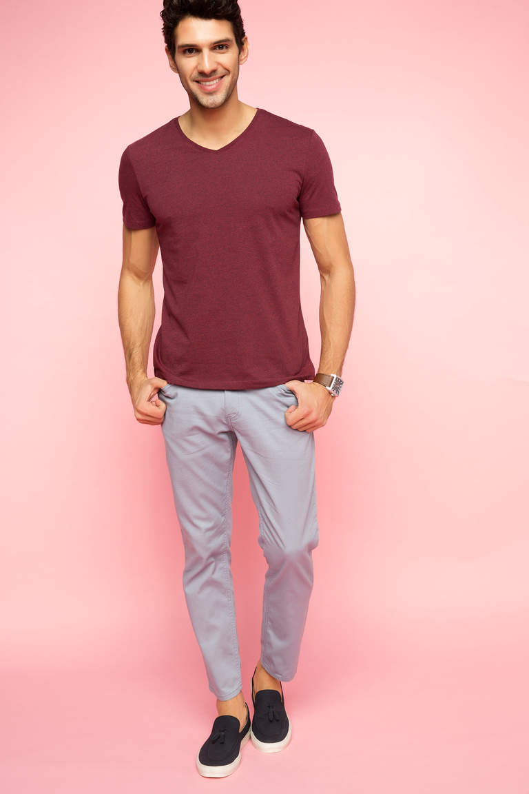 DeFacto Bordo Erkek V Yaka Basic T-shirt 2