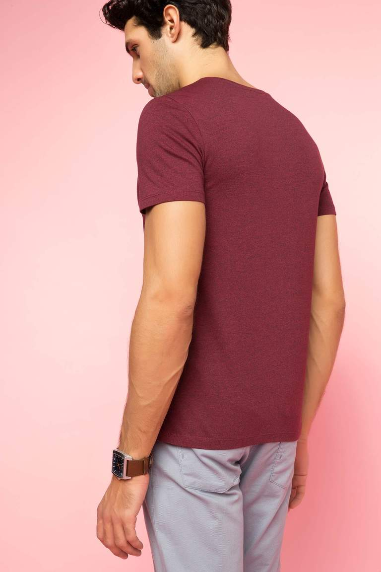 DeFacto Bordo Erkek V Yaka Basic T-shirt 3