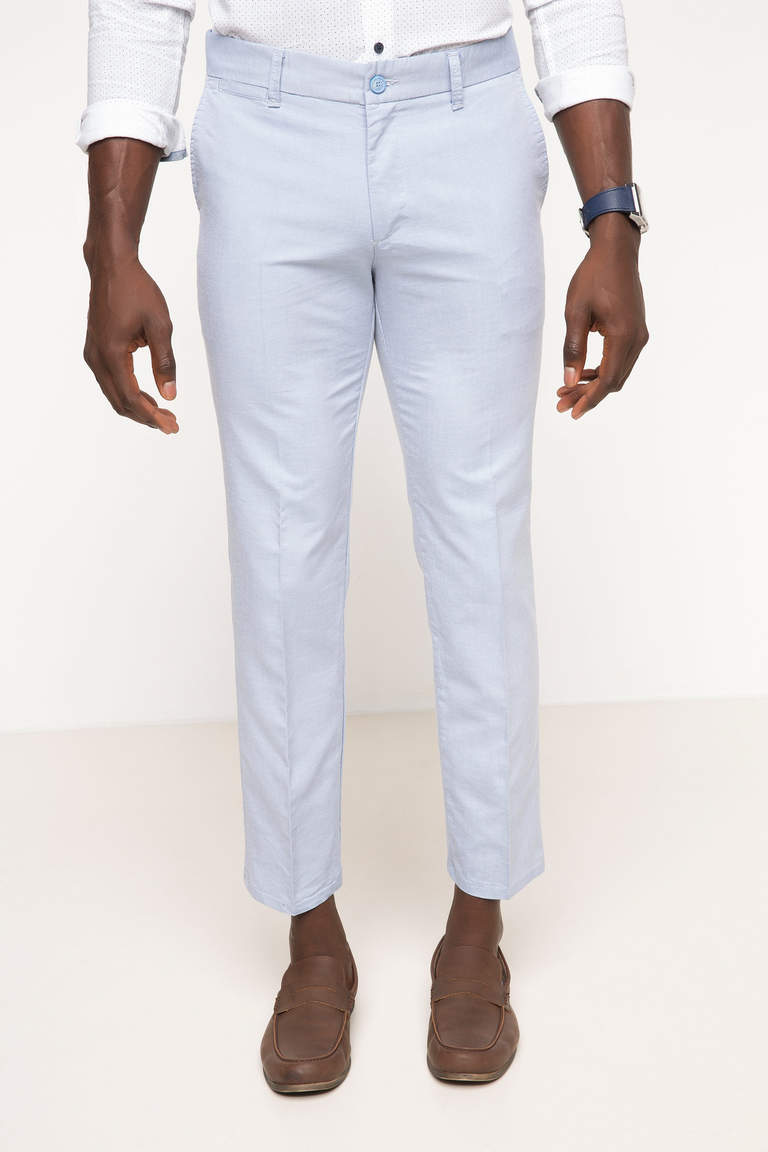 DeFacto Mavi Erkek Oxford Regular Chino Pantolon 1