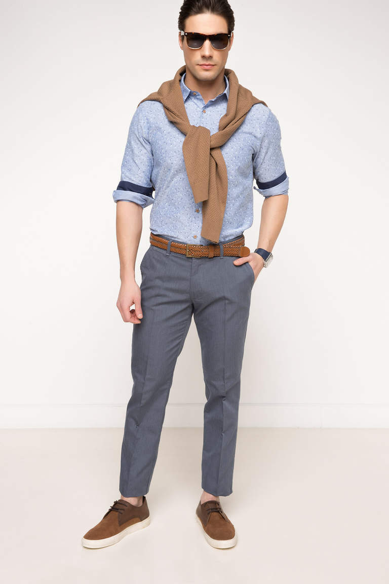 DeFacto Lacivert Erkek Oxford Regular Chino Pantolon 1
