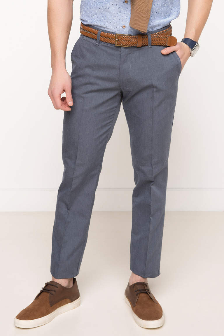 DeFacto Lacivert Erkek Oxford Regular Chino Pantolon 2