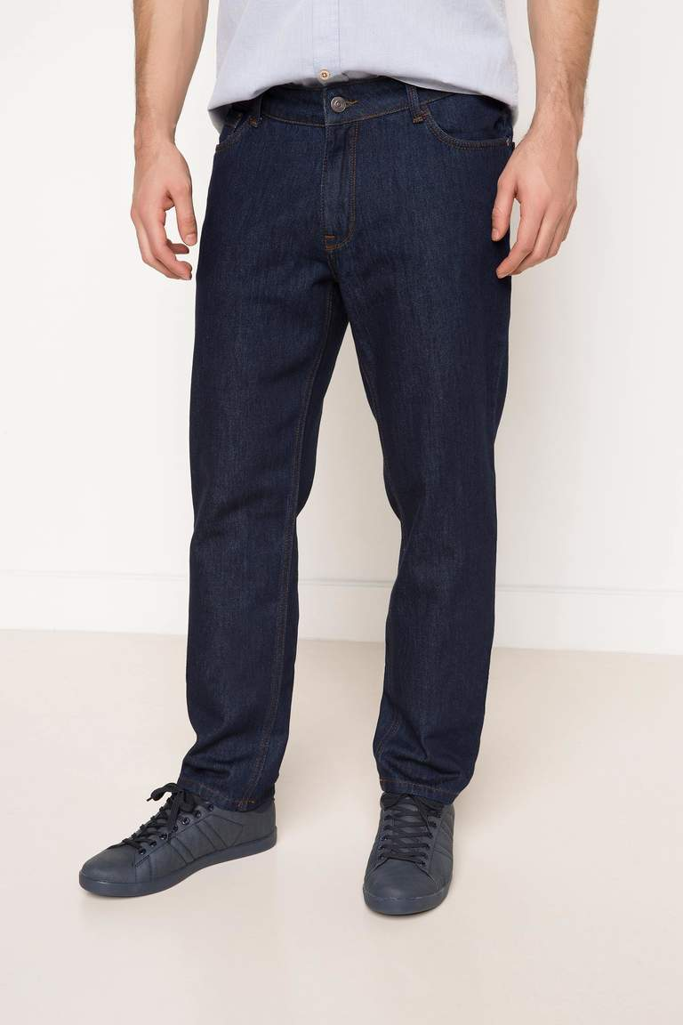 DeFacto Çivit Mavisi Erkek Leo Regular Fit Denim Pantolon 2