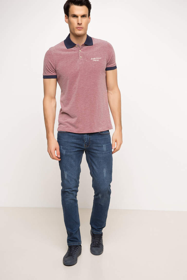 DeFacto Bordo Erkek Pike Polo T-shirt 2