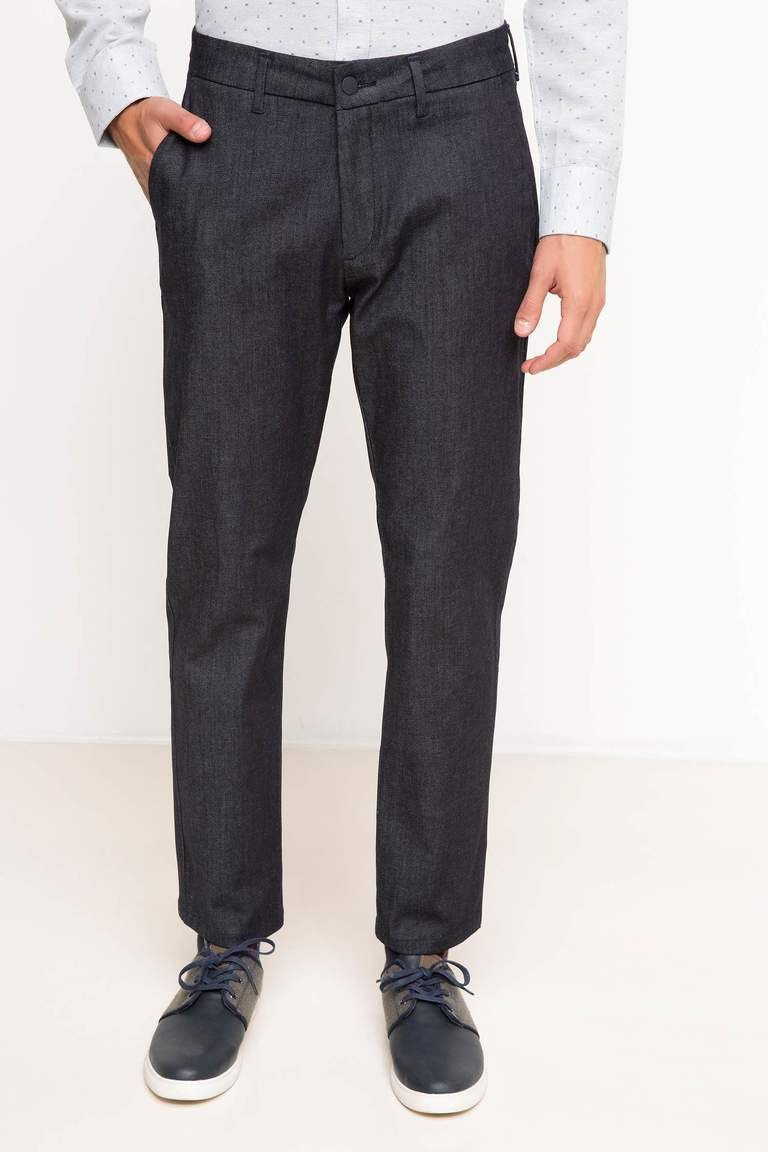 DeFacto Lacivert Erkek Slim Fit Chino Denim Pantolon 2