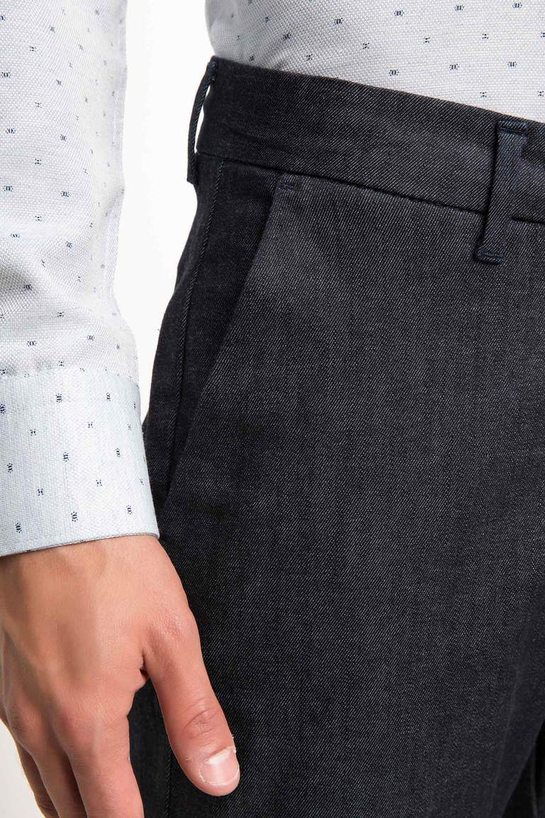 DeFacto Lacivert Erkek Slim Fit Chino Denim Pantolon 4