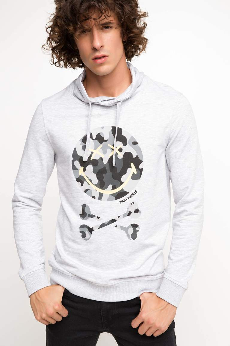 DeFacto Gri Erkek Smiley World Lisanslı Sweatshirt 1
