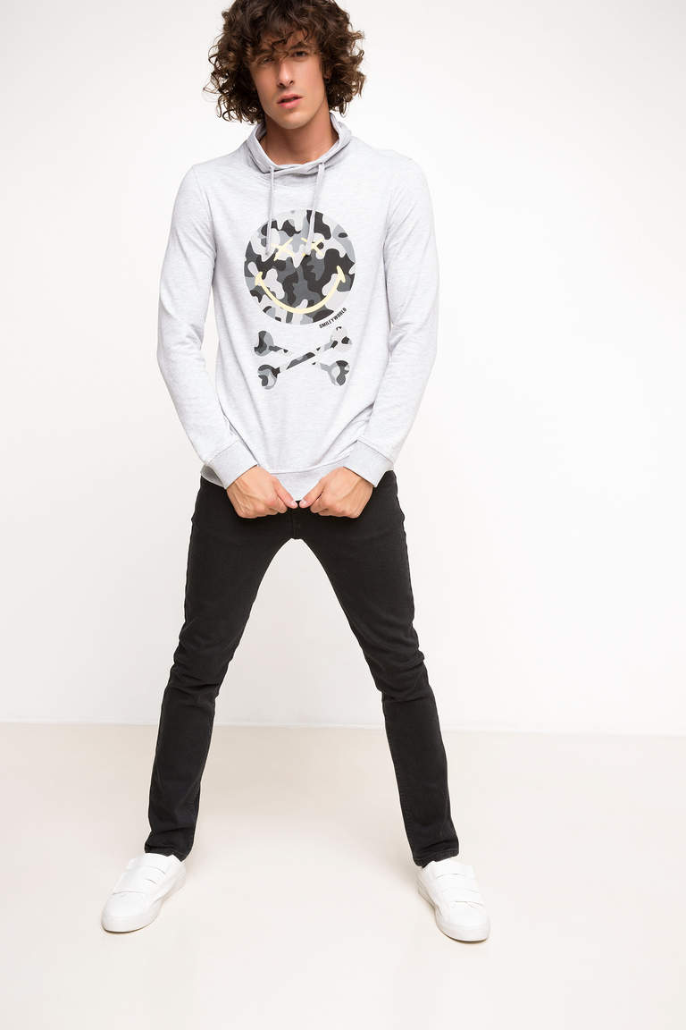DeFacto Gri Erkek Smiley World Lisanslı Sweatshirt 2