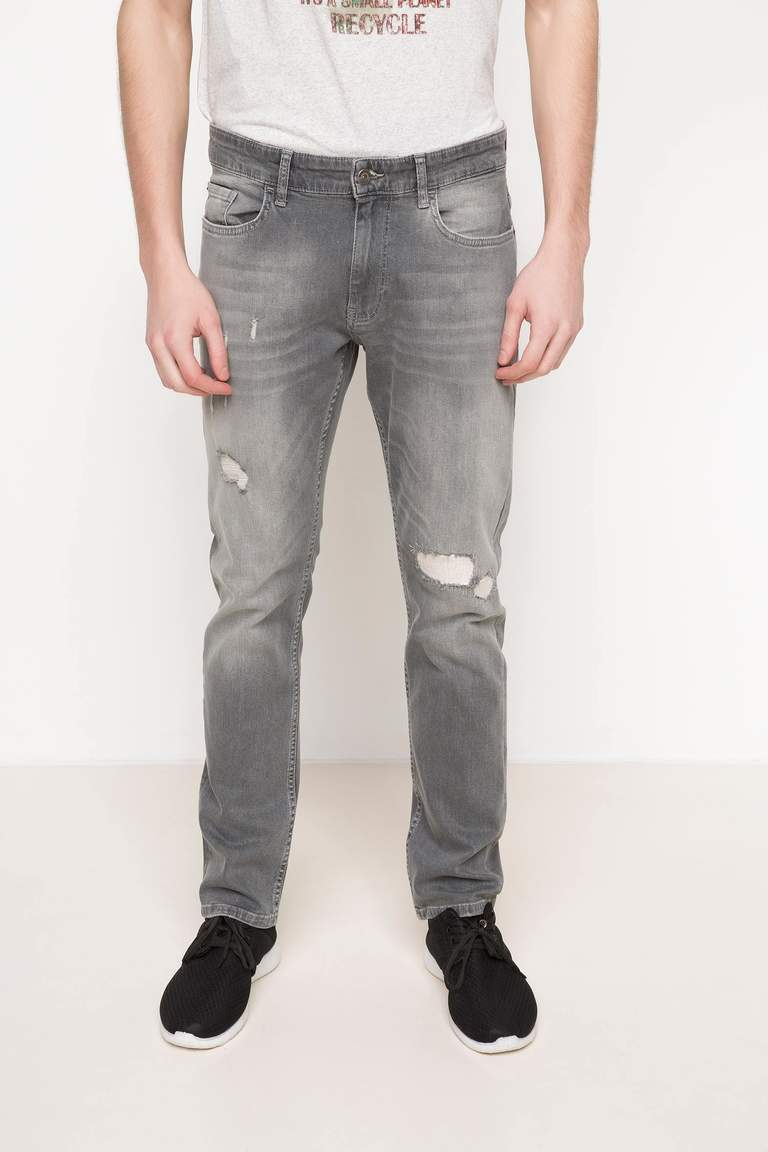DeFacto Gri Erkek Paco Slim Fit Denim Pantolon 1