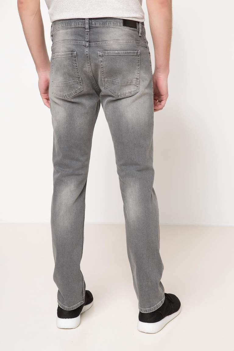 DeFacto Gri Erkek Paco Slim Fit Denim Pantolon 3