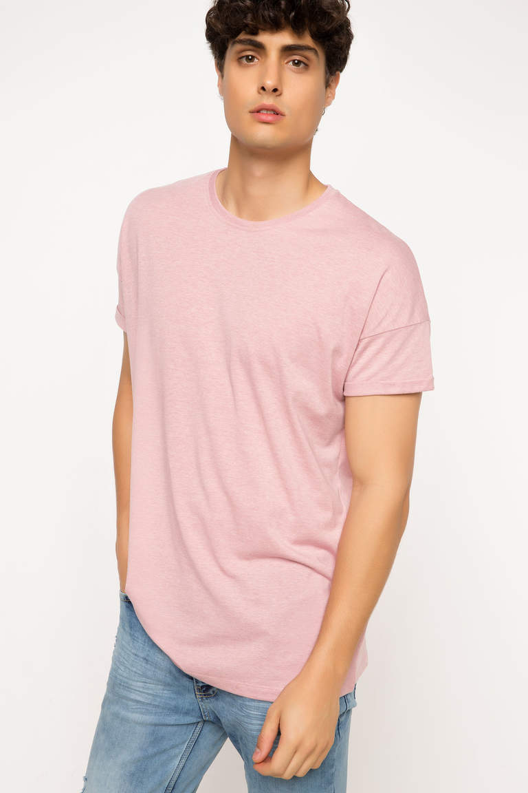 DeFacto Pembe Erkek Long Fit T-shirt 1