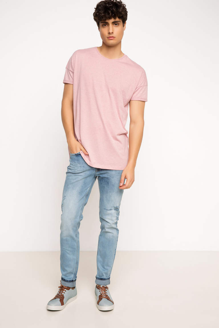 DeFacto Pembe Erkek Long Fit T-shirt 2