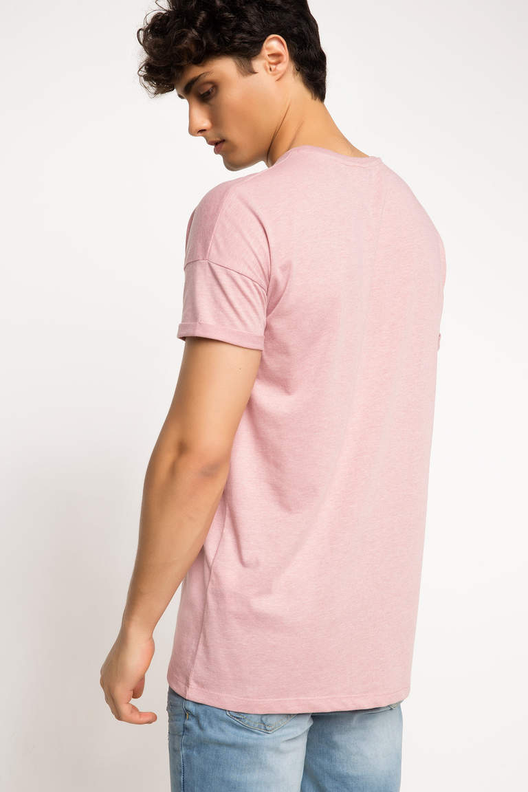 DeFacto Pembe Erkek Long Fit T-shirt 3
